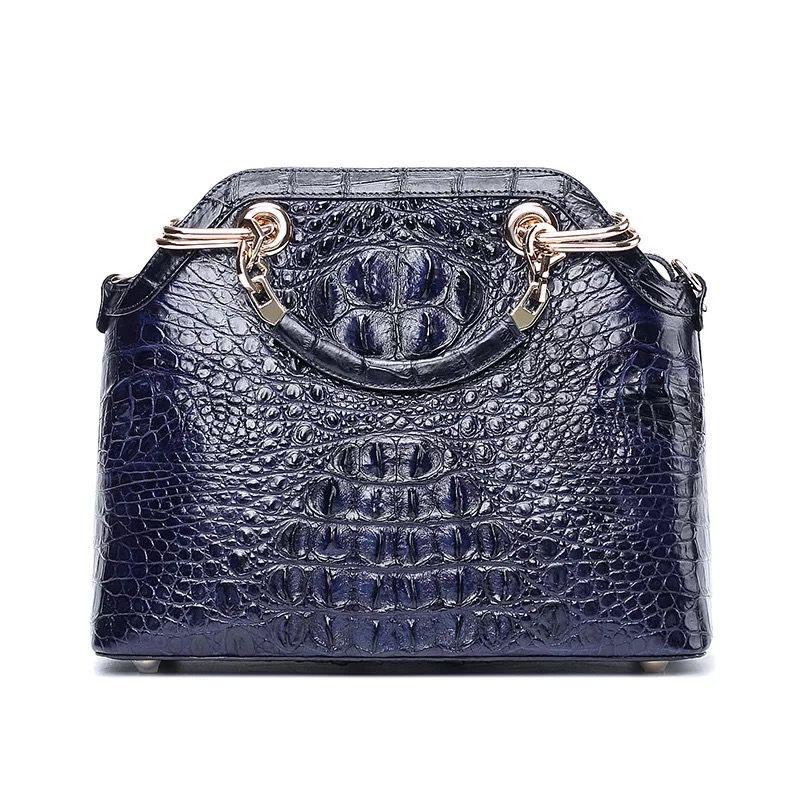 Fancy Designer 100% Genuine Alligator Skin Golden Metal Handle Women Handbag  Crocodile Leather Female Single Cross Shoulder Bag Top-Handle Bags Cheap ... 0b9bf3c3fea10