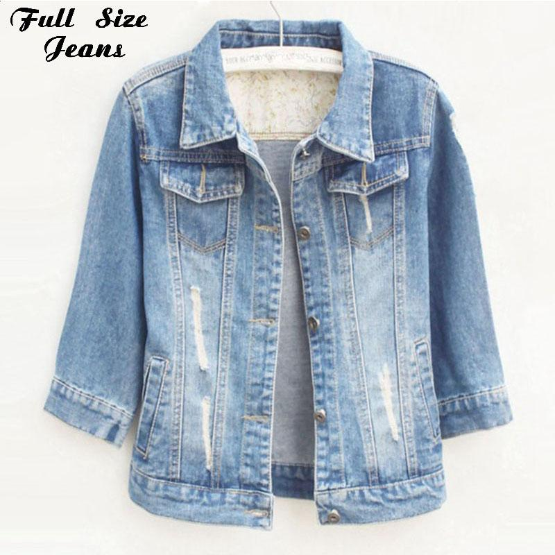 55d49cdcb0 Women Plus Size Cropped Jean Jacket Light Blue Bomber Short Denim Jackets  Jaqueta Casual Ripped Jeans Coat 3 4 Sleeve 4XL 5XL Outerwear Bomber Jackets  From ...