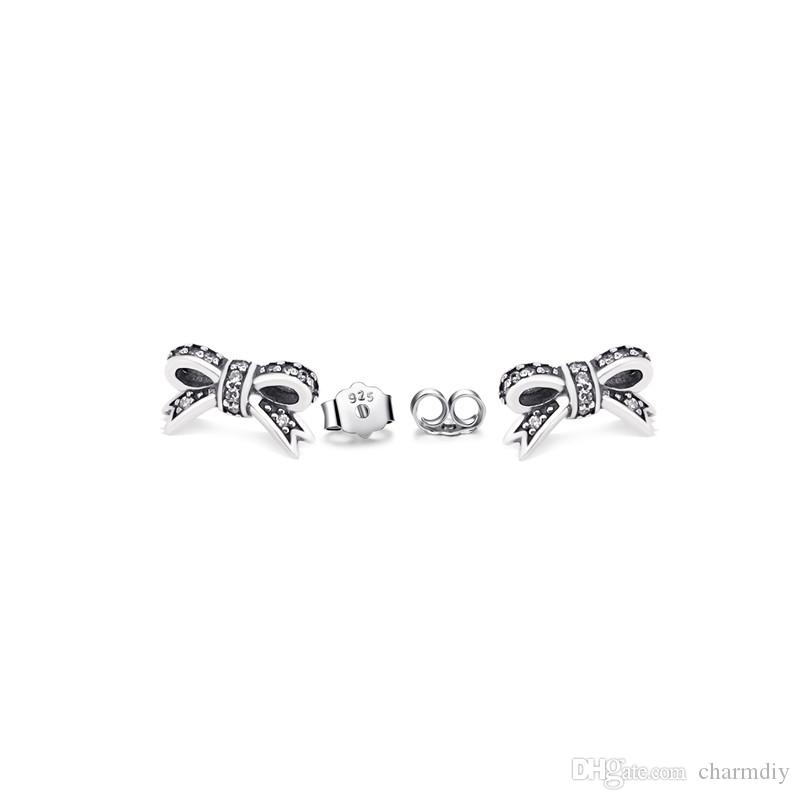 992ff14cb5a6e Jewelry Accessories Authentic S925 PANDORA Sparkling Bow Earring With Clear  CZ Fits For European DIY Style Jewelry 290555CZ