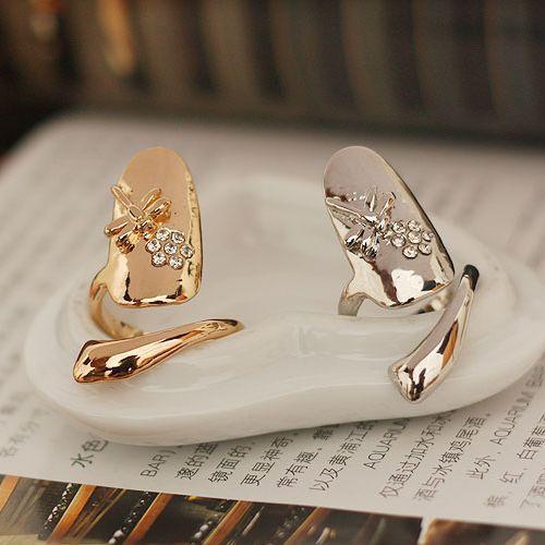 Top venda moda europeia bonito retro flor libélula frisada strass ameixa cobra anel de prata de ouro dedo unha anéis de jóias de noiva barato