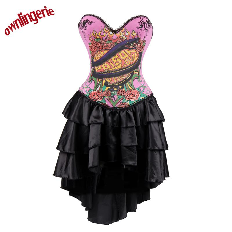 8189759b51c Wholesale Sexy Pink Punk Corset Bustier Dress with Animal Dragon ...