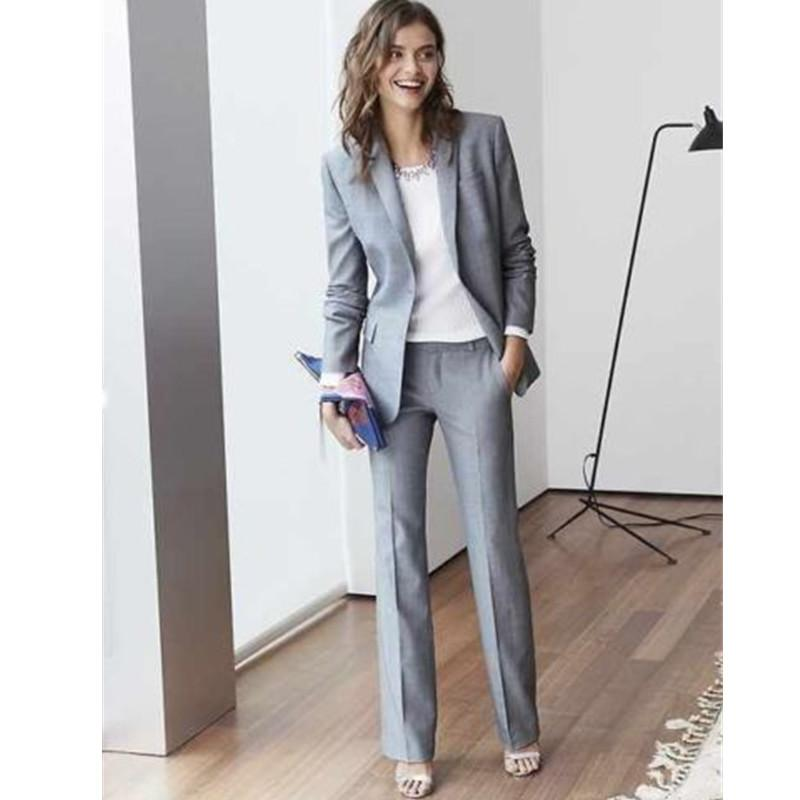84d57287c80666 womens formal wear pantsuits Light Grey Women suit Custom Made Business  Office Tuxedos Work Wear One Buttons (jacket+pants)