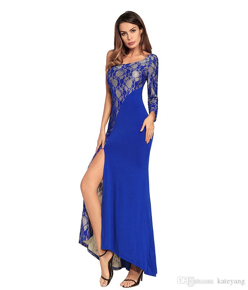 Pist moda Yan Bölünmüş Elbise Combinaison Femme Seksi Eğik Dantel Patchwork Uzun Maxi Balo Elbise Vestido De Renda Longo