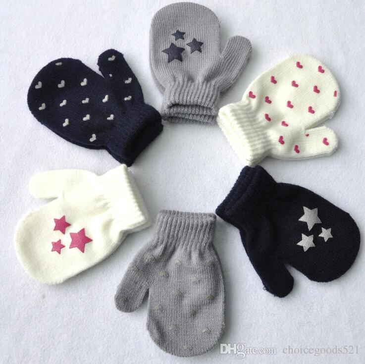 6231ea5b9 Kids Gloves Heart Start Knitting Warm Glove Children Boys Girls ...