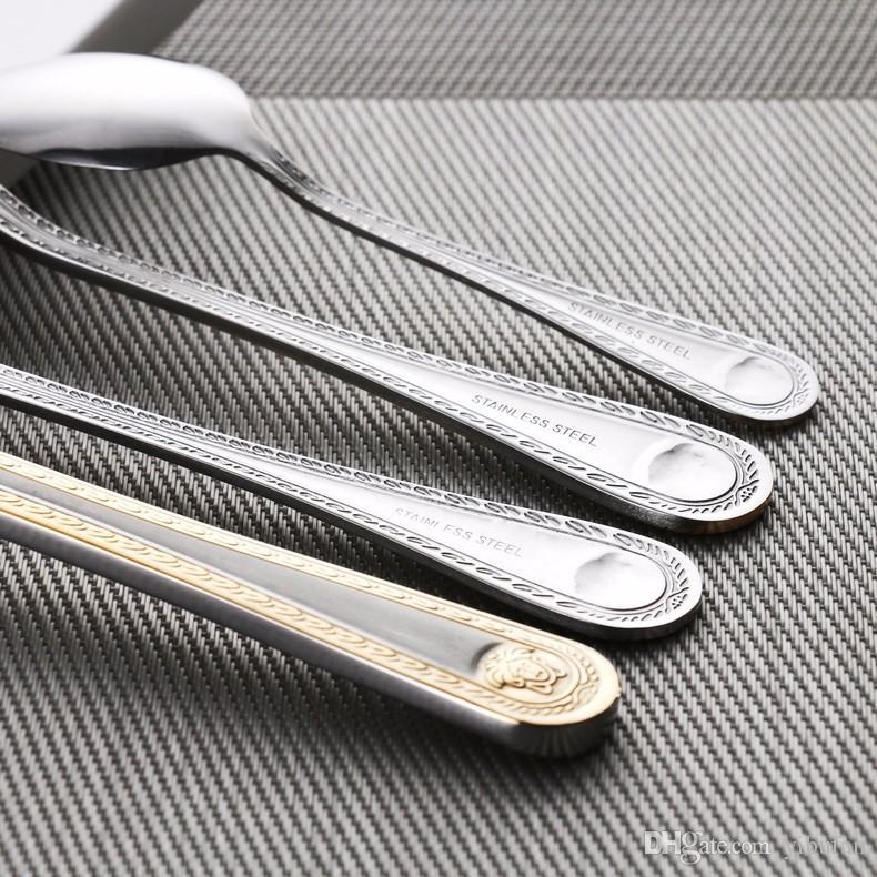 4 Unids / set Medusa Head Gold Cubiertos Conjunto de Cubiertos de Acero Inoxidable Vajilla Vajilla Cuchillo Cuchara Tenedor Nuevo Envío Gratis