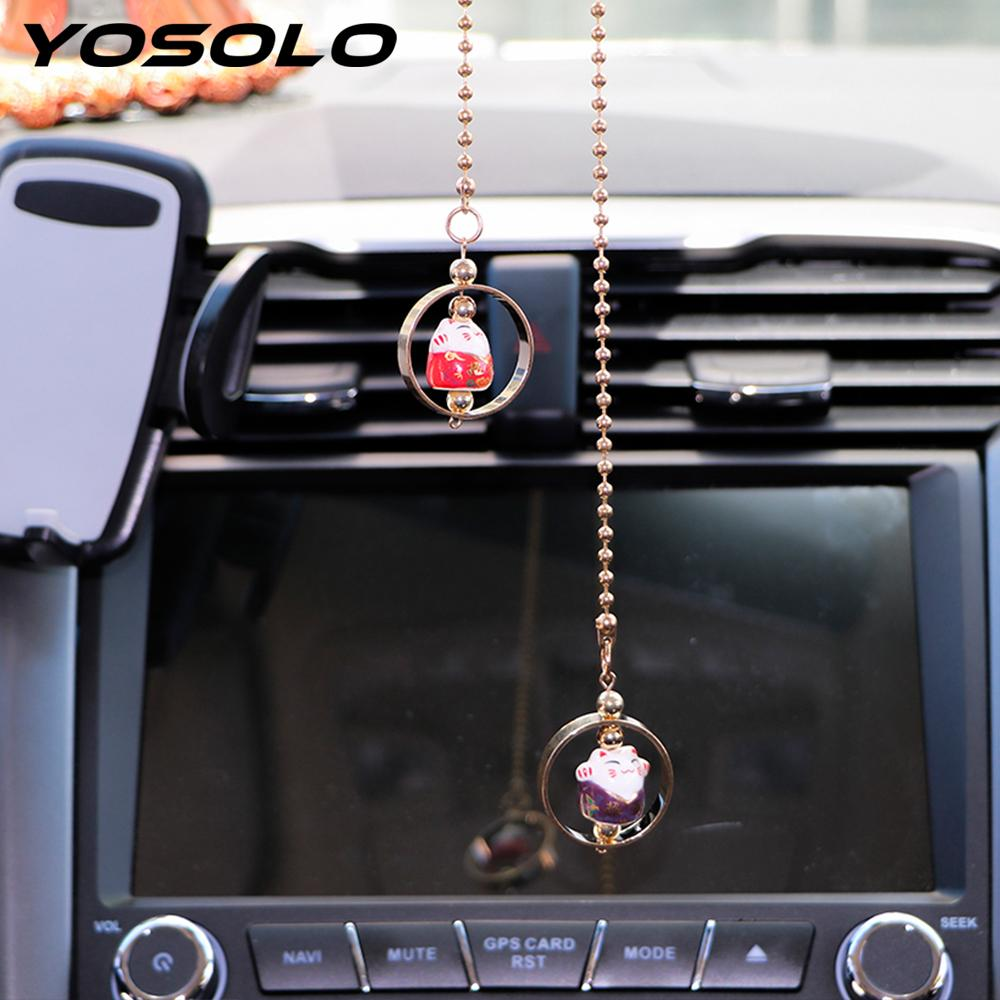 . Ceramics Alloy Car Rearview Mirror Decoration Car Pendant Hanging Ornament  Car styling Interior Accessories Cute Lucky Cat