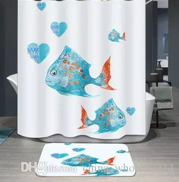 2019 Mix SaleCute Cartoon Fish Heart Kid Bath Polyester Curtain Bathroom Shower Waterproof 12 Hook Home Textile 180x180cm ARI 458 From