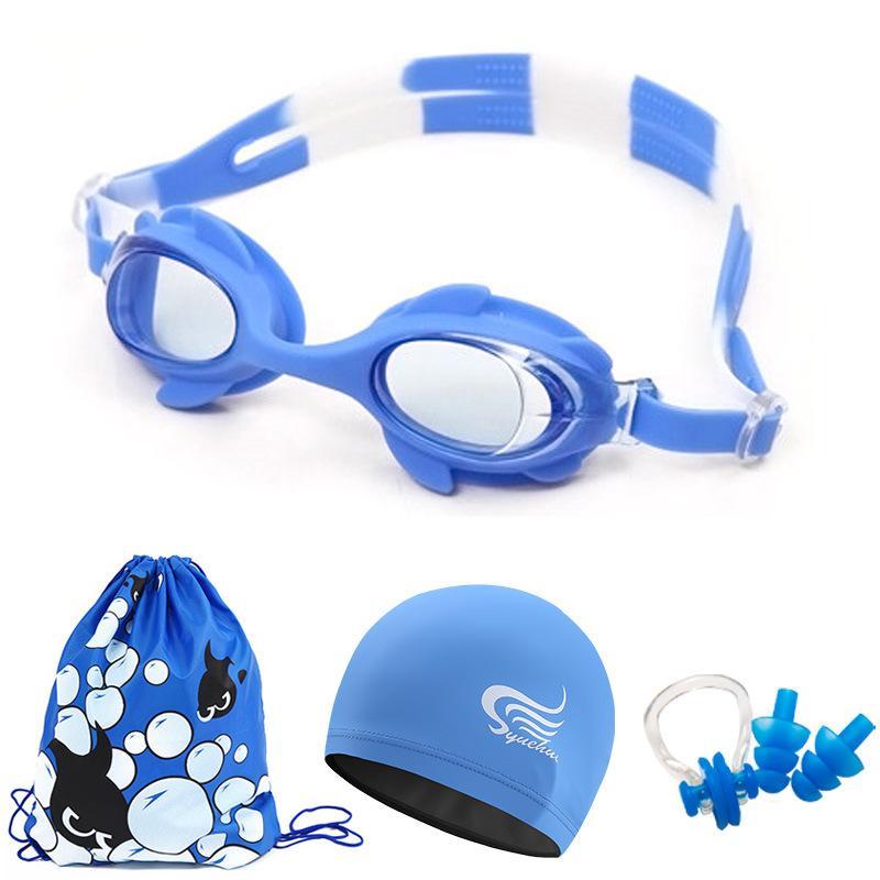 4dce1a3e5ac2 Grils Boys Swimming Goggles Kids swim Cap 4pcs set Waterproof Anti-fog UV  Girls kids Swim Glasses cap bag nose clip earplug