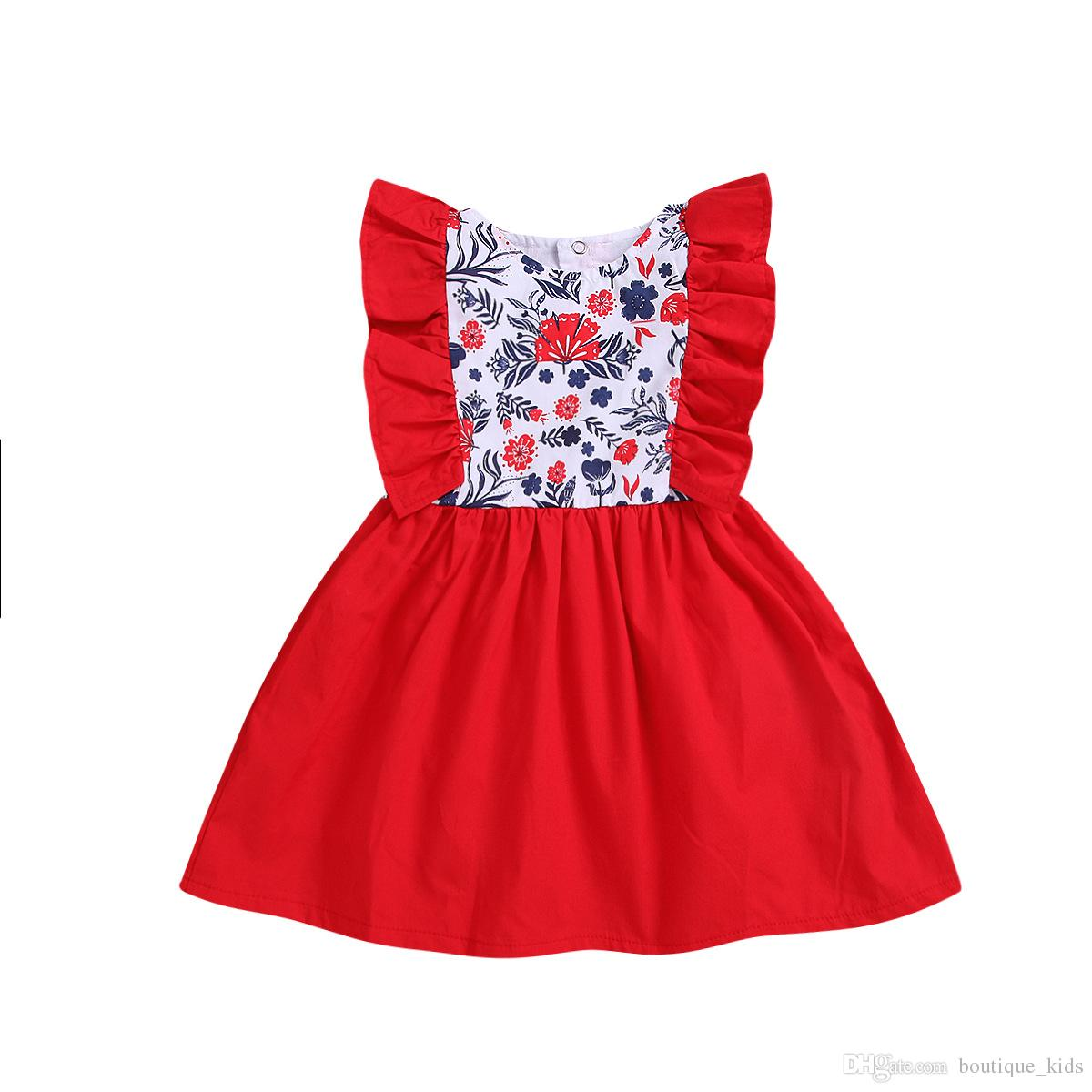 f3c78d3016b8 2019 Girls Christmas Dress 2019 New Kids Baby Girl Clothes Sleeveless Flower  Ruffle Bowknot Red Baby Girls Dresses Xmas New Year Infant Clothing From ...