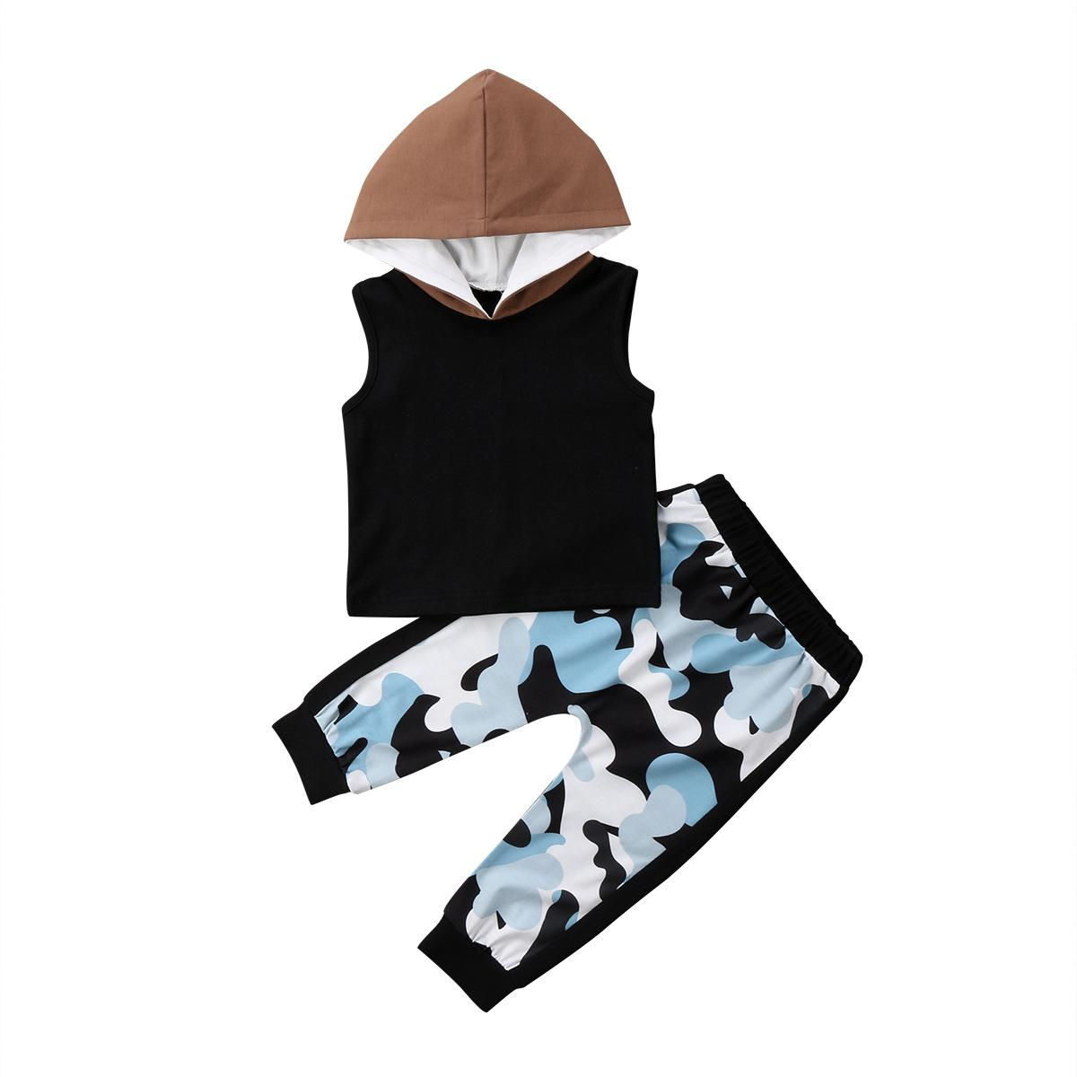07226ce28 Newborn Kids Baby Girl Boy Tops Hooded Vest Camouflage Pants Outfits ...