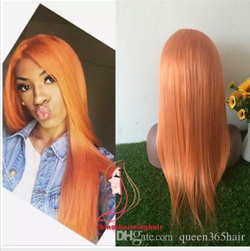 Full Lace Human Hair Wigs orange Brazilian Hair silky straight Gluless Lace Front Human Hair Wig for Black/White Women