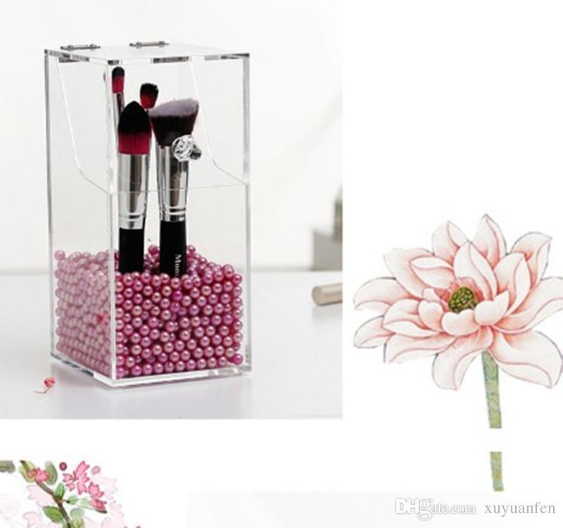 Lifewit PC Makeup Organizer Caja de almacenamiento de acrílico organizador cosmético claro 5 mm de espesor titular de cepillo organizador de almacenamiento de maquillaje organizador