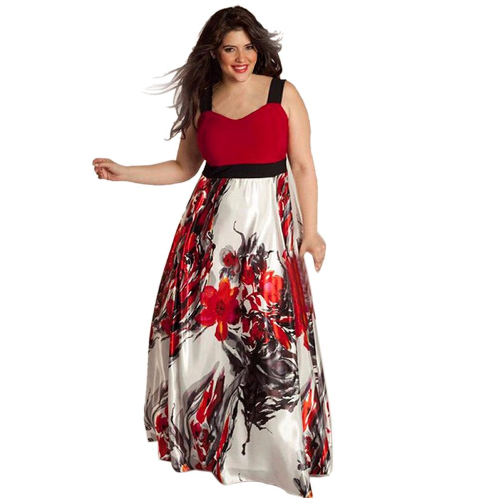 Plus Size Dress Women Floral Printed Vintage Long Evening Party ... 145441254fdf