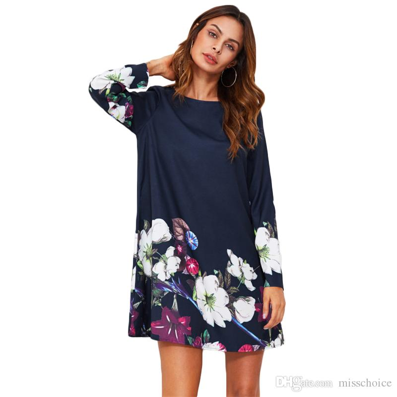 8bf36728fa 2018 Plus Size Flower Print Flowy Dress Navy Boat Neck Long Sleeve A Line  Dress Autumn 2018 Casual Womens Dress Casual Long White Summer Dresses Cute  ...
