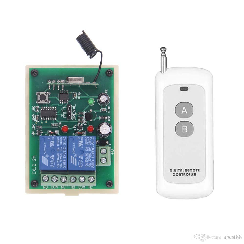e5331228bd8 DC 12 V 24 V Interruptor de Controle Remoto Casa Inteligente 2 CH Relé de  Contato Interruptor Sem Fio 2CH Aprendizagem Independentemente Receptor RF  315 433