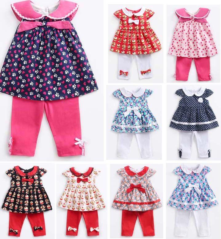 4828850b2effc kids clothing girl elegant Pet Pan Collar Short Sleeve Cup Cake or Polka  Dots Dress + Pants Girl kids summer sets free ship