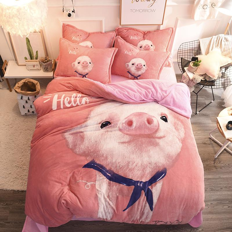 Perfect Ivarose 2017 Winter Bedding Set Fleece Fabric Duvet Cover Rabbit Pig  Cartoon Bed Sheet Sets Queen Size Jogo De Cama Nautical Bedding King Size  Duvet Covers ...
