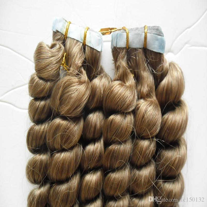 """100g Tape Hair Extensions Loose wave Light Brown Skin Weft Human Hair Machine Made Remy 14"""" 16"""" 18"""" 20"""" 22"""" 24"""" Adhesive Seamless Hair"""