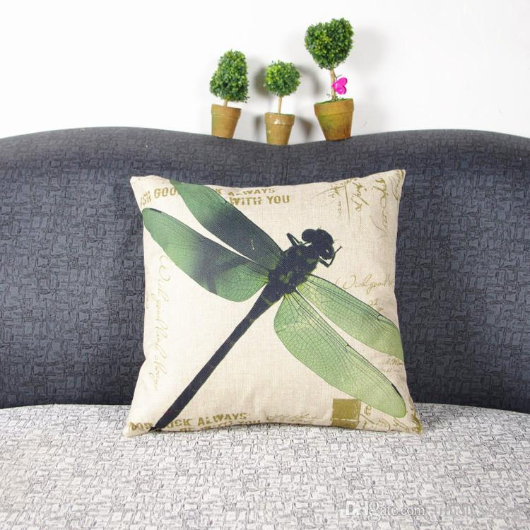 American country color dragonfly oil painting illustrations pillow case Doing old vintage pillowcase Flax fiber blend sofa cushion cover