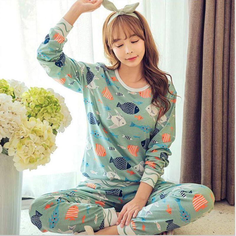 af1b8354ffb0 2019 HOt Sale 2017 Autumn Winter Women Sleepwear Pajamas Set Women Girl  Pyjamas Cartoon Cotton Long Sleeved Sleepwear Cute Nightgown D18110503 From  Xiao0002 ...