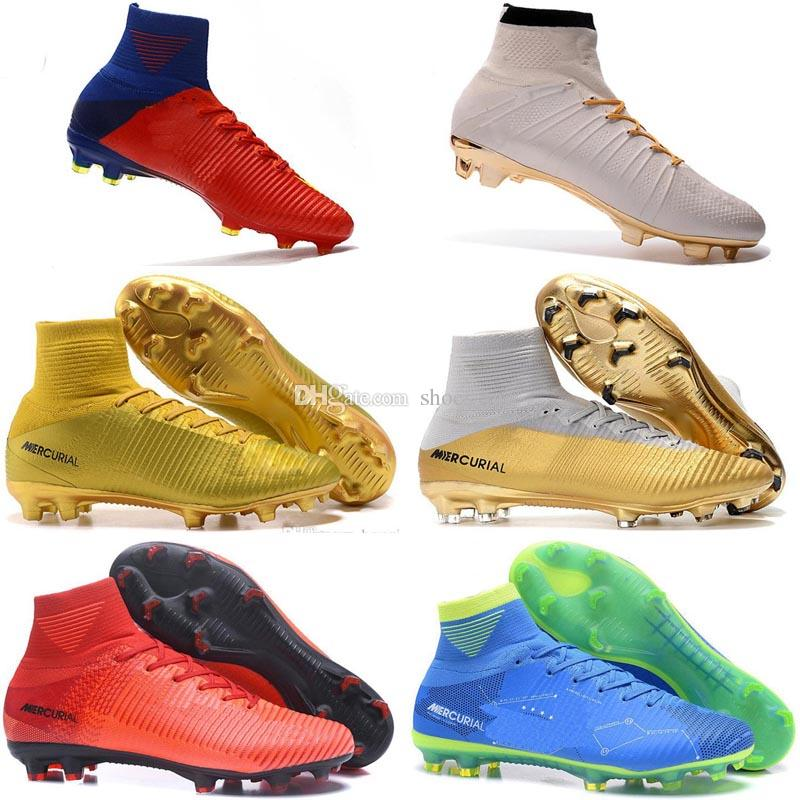 d6c0958c7 2019 High Top Men Kids Indoor Neymar TF Soccer Shoes Mercurial Superfly V  CR7 FG AG Football Boots Ronaldo Youth Magista Obra Soccer Cleats SHOES  From ...