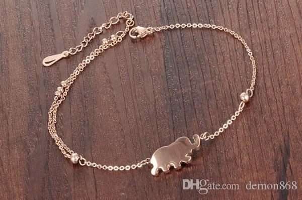 Ladies Ankle Bracelet Foot Chain Accessories Barefoot Sandal Summer Beach Anklet Bracelet with Cute Elephant Pendants