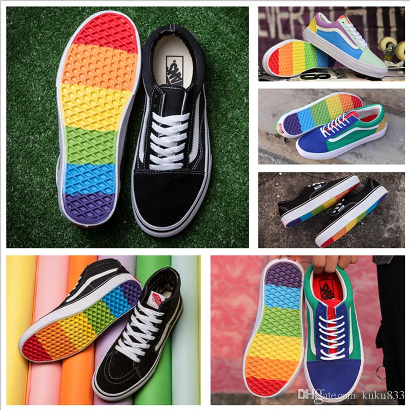 Cheap VANSES Old Skool Sk8 Hi Canvas Casual Shoes Men Women Skateboard  Fashion Rainbow Colorful Sole 2018 Skate Sports Shoes Size 36 44 Cheap Shoes  For ... c21bf40d5