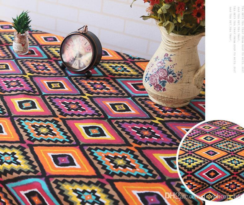 Rectangular canvas Southeast Asia ethnic style Washable Tablecloth Vintage Rectangle Dinner Picnic Table Cloth Home Decoration