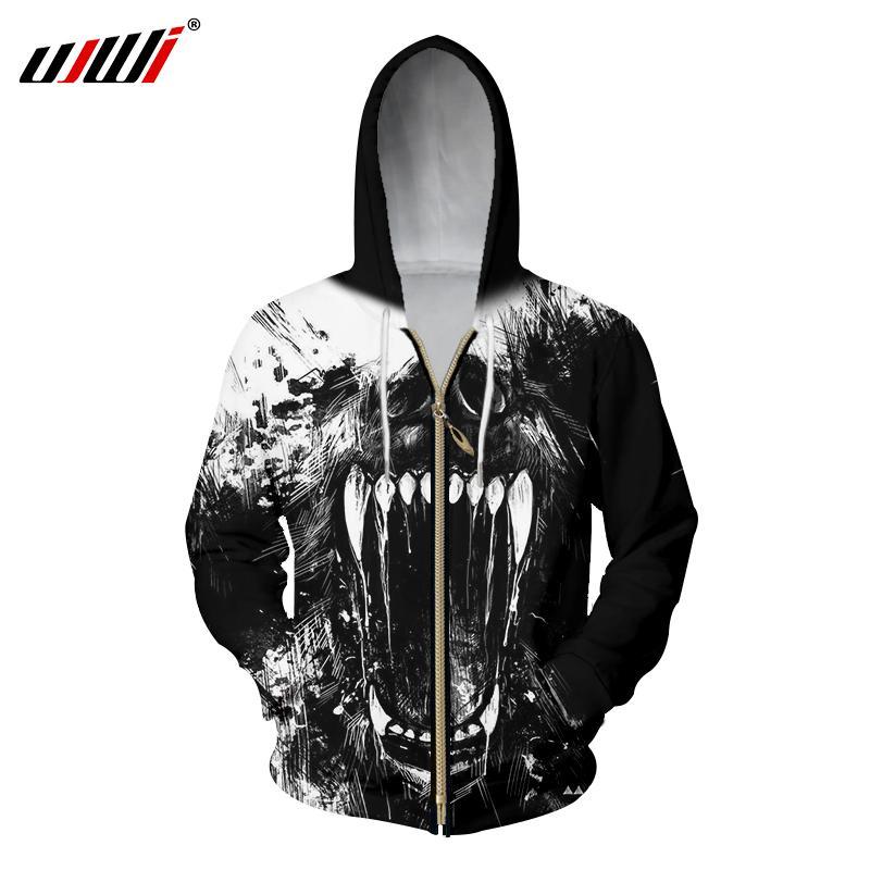 UJWI Zipper Hoodies Hommes Cool Imprimer Horreur Crâne 3d Sweat À Capuche Homme Casual Sweats Homme À Manches Longues À Capuche Veste Pulls
