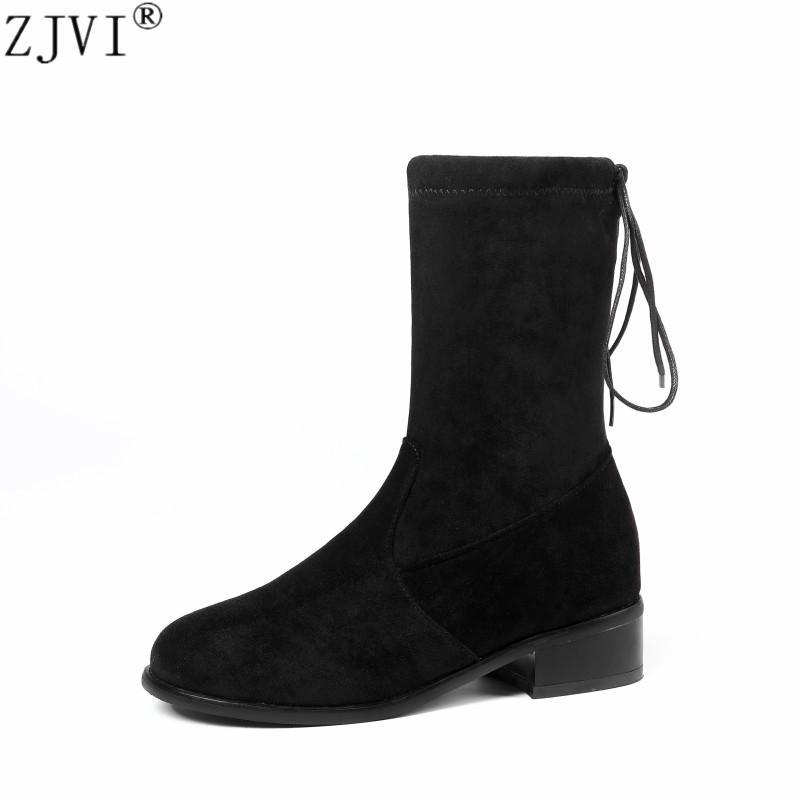 2f6dc7127 ZJVI 2018 mujer nubuck media pantorrilla botas para mujer invierno otoño  botas punta redonda mujer cuadrado negro tacones bajos zapatos de las ...