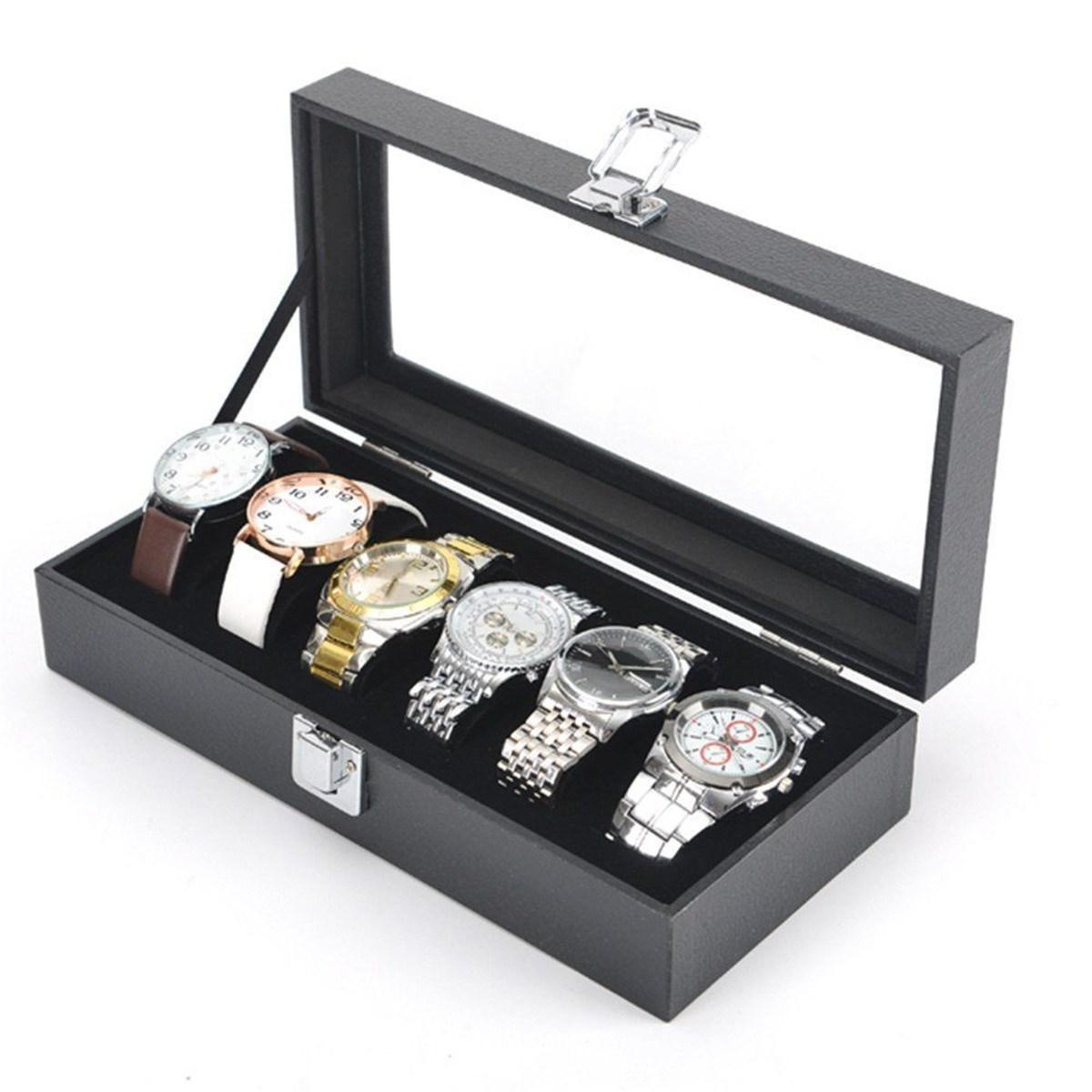 Watch Box Display Jewelry Wrist Case New Black 6 Grid Slots Watches Storage Collection Organizer Boxes Holder Glass Windowed