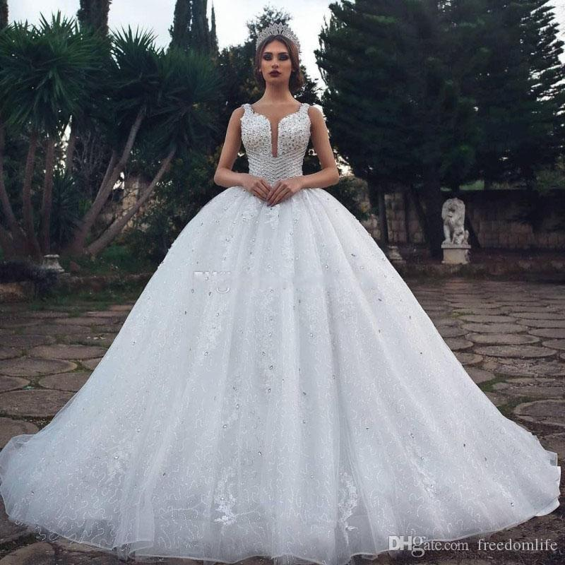 2019 Lace Ball Gown Wedding Dresses Crystal Sequins Saudi