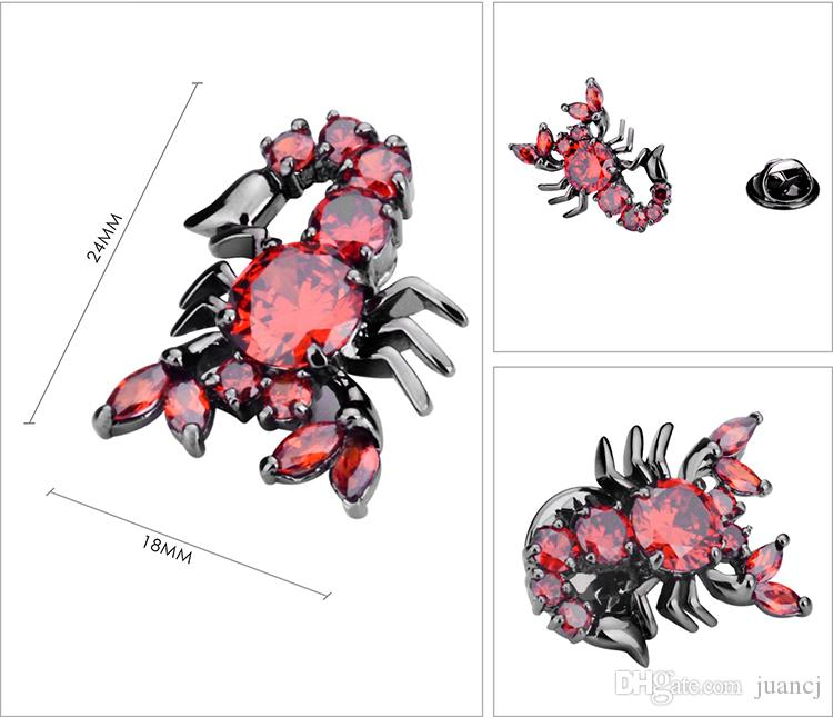 SAVOYSHI Luxury Red Zircon Scorpion Lapel Pin Brooches Pins Fine Gift for Mens Brooches Collar Party Engagement Brand Jewelry