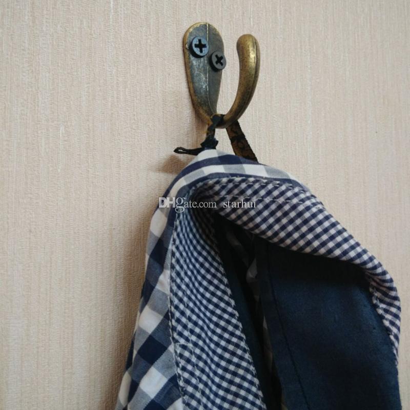 رداء السنانير البرونزية لهجة معدنية معطف هوك حقيبة الملابس معلقة 2 ثقوب هوك واحدة اكسسوارات الحمام المنزل الشحن dhl WX9-437