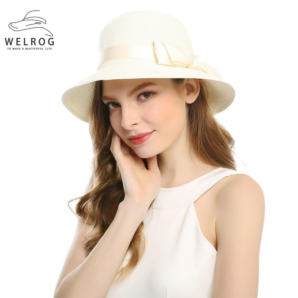 171172b7 WELROG Women Summer Beach Sun Hat New Women Bow Knot Hats UV Protection  With Wide Brim Bucket Packable Paper Hats For Girls Fishing Hats Funny Hats  From ...