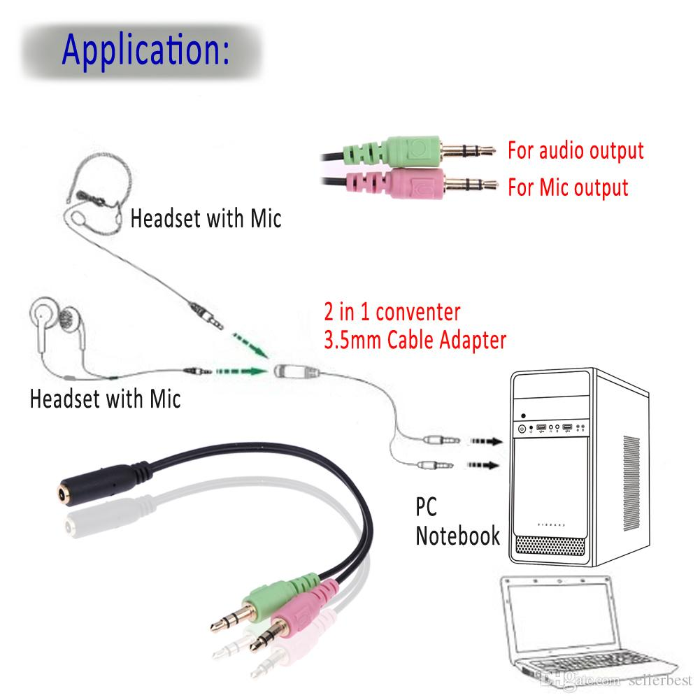 2019 35mm Stereo    Audio    Female To 2 Male    Headphone    Mic Y Splitter Cable    Adapter    For Computer