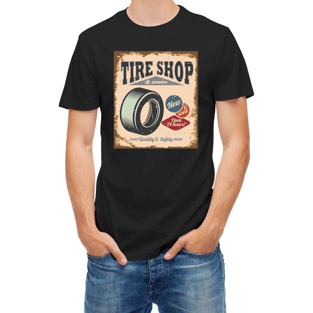 9d6e84f53ae4 T Shirt Tire Shop Vintage Car Service Men T Shirt Lowest Price 100 % Cotton T  Shirt Summer Famous Clothing Top Tee Silly T Shirts Interesting T Shirts  From ...
