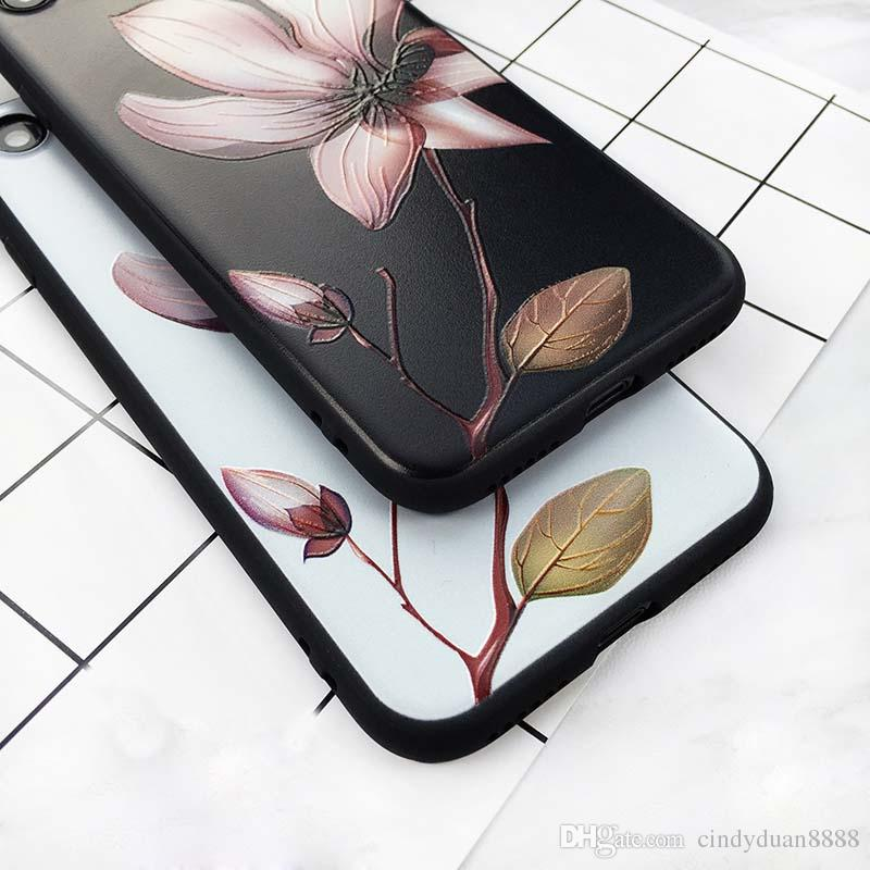 Fashion Phone Case For iPhone 6 6s Plus Vintage Soft TPU Back Cover Cases Coque For iPhone 7 7 Plus 3D White Flower Paint