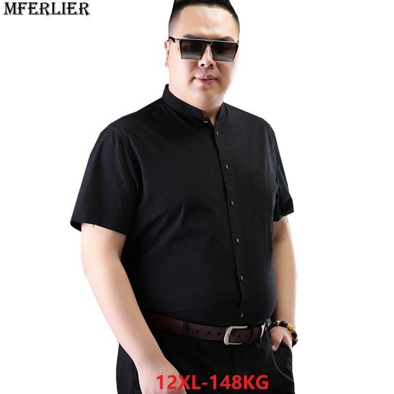 534c490e13d 2019 MFERLIER Summer Plus Size Shirts 8XL Men Short Sleeve Dress Shirts  Business Formal Big Size 9XL 10XL 11XL 12XL 7XL Office Blue D18102301 From  Shen06
