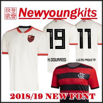 7b4536428 2019 2018 19 Flamengo Home Away White Soccer Jersey Brasil Football Shirt 18  19 LUCAS PROUETA GUERRERO DIEGO VINICIUS JR DOURADO Soccer Shirt From ...