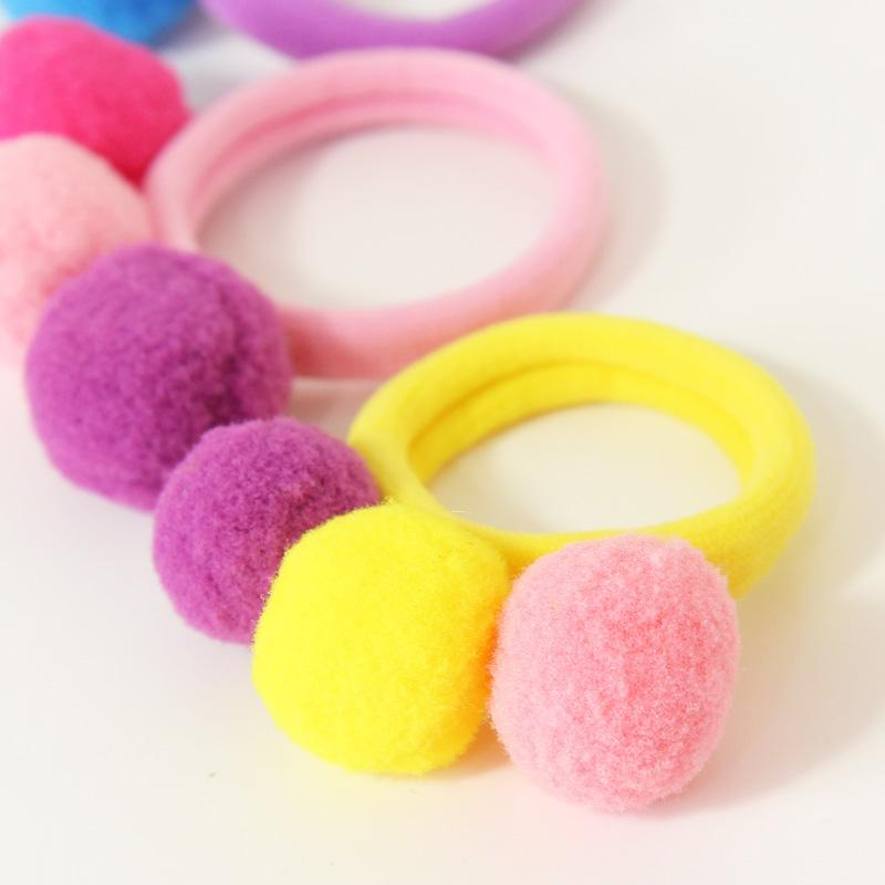 New Cute Little Girls Hair Ropes Colorful Pompon Kids Cotton Elastic Hair Rubber Bands For Children Hair Accessories Tie Gum