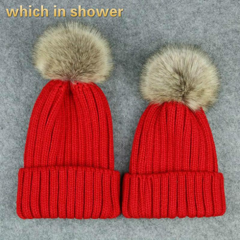 0b0cc9add7c 2019 Parent Child Fur Hat Fashion Winter Outdoor Thick Warm Bobble Girl  Knitted Hat Faux Rabbit Fur Pompom Women Cap Drop Shipping From Onecherry