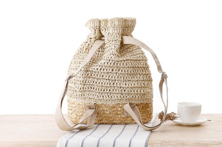 College wind hand-crocheted backpack straw woven bags Sen Department of Tourism vacation leisure handbags