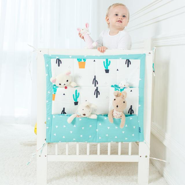 Cartoon Rooms Nursery Hanging Storage Bag Baby Cot Bed Crib Organizer Toy Diaper Pocket For Newborn Crib Bedding Set 60 *50cm