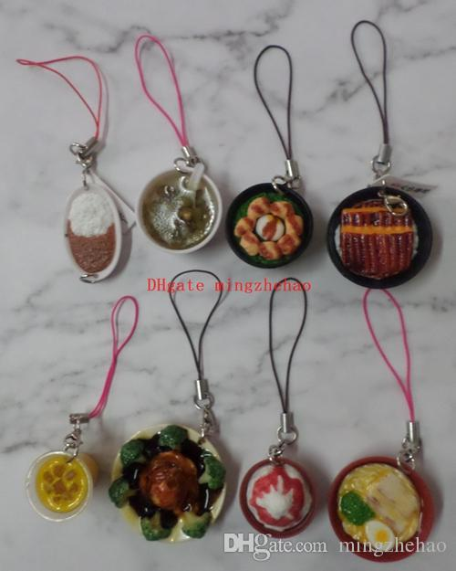 JETTING Mini Cell Phone Strap Simulation Food Charms noodle Keychain Pendant Chinese porcelain Food Bowl Kids Fun Toy