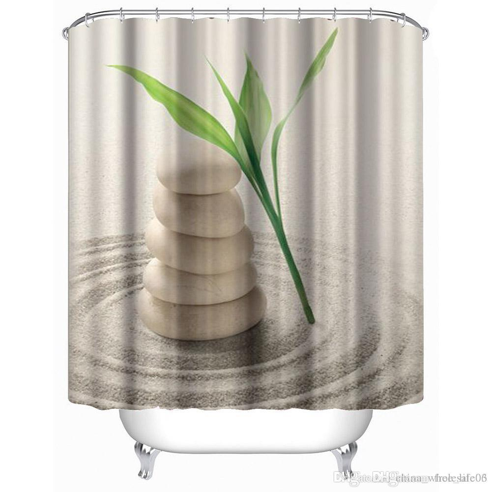 2019 Bathroom Shower Curtain 3D Printed Stone Plant Sand Bath Curtains Waterproof Polyester Door With Hooks180180cm From Free Life03