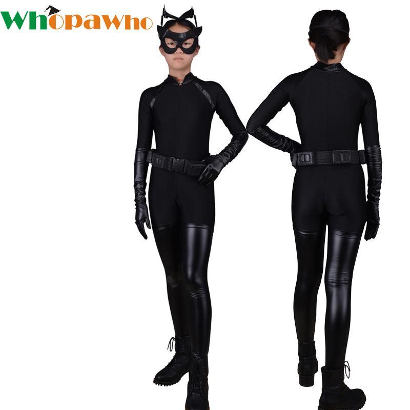 da95383c9855 2019 Kids Sexy Black Cat Cosplay Halloween Costumes Lycra Jumpsuit ...