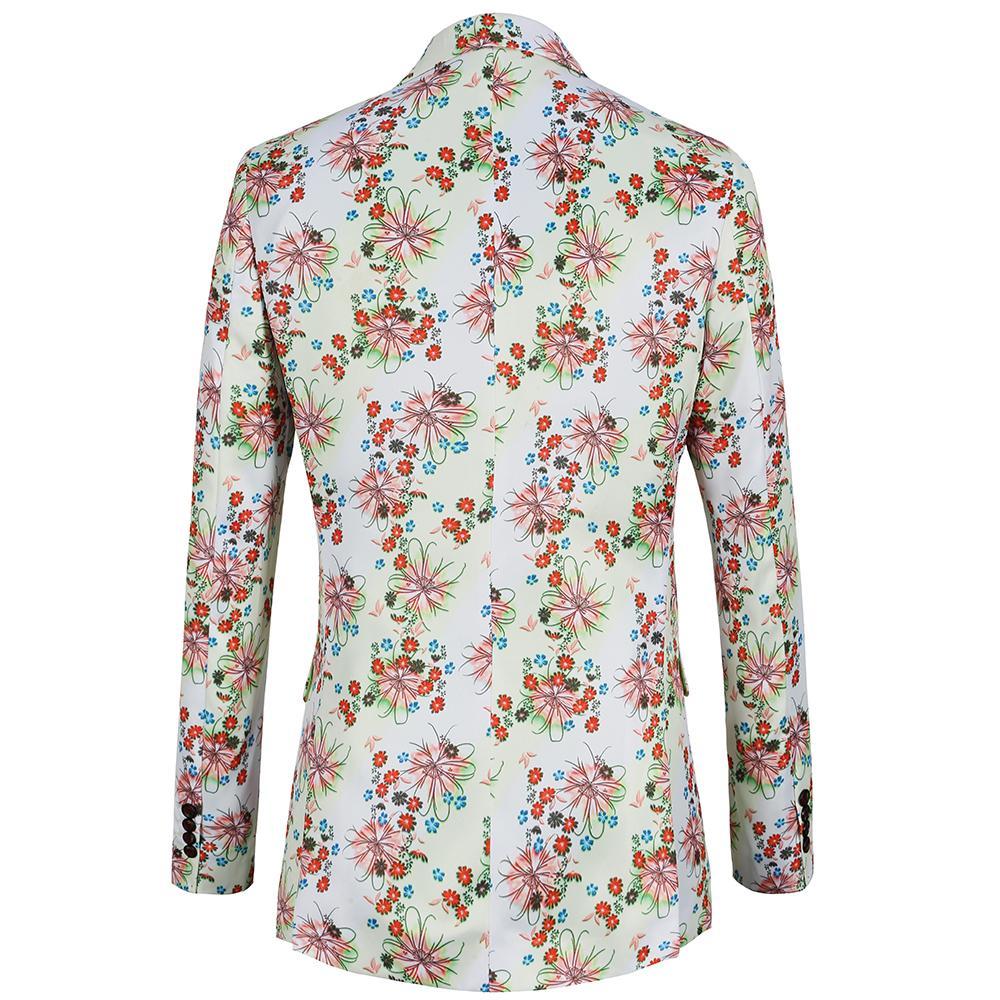 4b78ff9ce86 2018 New Spring Men Blazer White Print Mens Floral Suit Jacket Party ...