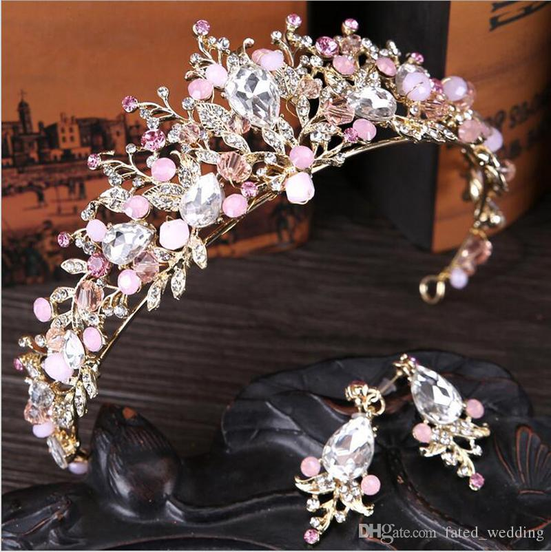 Luxus Bridal Crown Crystals Kopfschmuck Royal Wedding Queen Kronen Prinzessin Crystal Baroque Birthday Party Tiaras Ohrring Pink Gold Sweet 16
