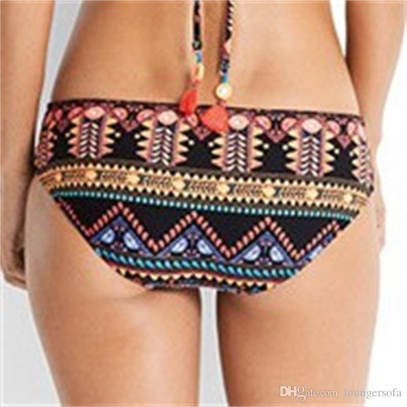 Femme Bikini Etnik Stil Kaşkorse Iki Parçalı Set Bölünmüş Vücut Chinlon Lady Mayo Kadın Mayo Seksi Baskı 22qy V